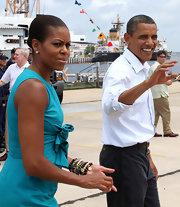 Michelle Obama added flair to her look with tons of beaded bracelets during a trip to Florida.