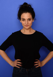 Jenny Slate wore black nail polish to match her dark outfit at the 2014 Sundance Film Festival.