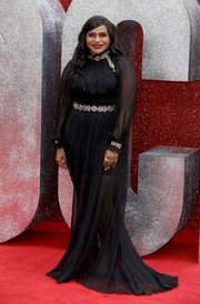 Mindy Kaling made an elegant entrance in a sheer black Alberta Ferretti gown with silver embellishments at the UK premiere of 'Ocean's 8.'