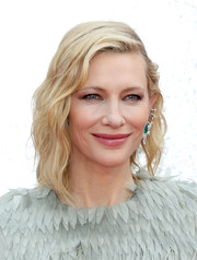 Cate Blanchett looked cool and glam with her asymmetrical waves at the UK premiere of 'Ocean's 8.'