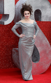 Helena Bonham Carter was diva-glam in a silver off-the-shoulder gown by Vivienne Westwood Couture at the UK premiere of 'Ocean's 8.'