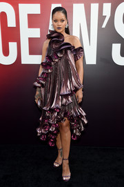 Rihanna got frilled up in a metallic purple ruffle dress by Givenchy for the world premiere of 'Ocean's 8.'