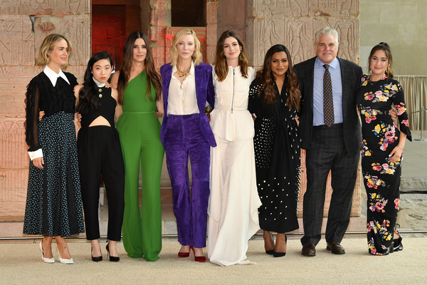 More Pics of Mindy Kaling Beaded Dress (1 of 22) - Dresses & Skirts Lookbook - StyleBistro [social group,people,event,formal wear,team,ceremony,family,awkwafina,sarah paulson,gary ross,mindy kaling,anne hathaway,sandra bullock,photo call,l-r,oceans 8,photo call]
