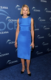 Kelly Lynch kept it classy at the Oceana Partners Awards Gala in a blue cocktail dress with a subtly embellished neckline.