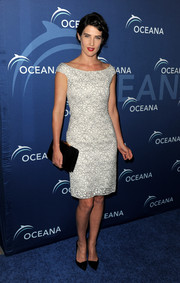 Cobie Smulders was vintage-chic in a black-and-white lace off-the-shoulder dress by Christian Dior during the Oceana Partners Awards Gala.