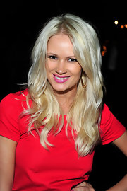 Lauren Bennett's shiny tresses were styled in wavy layers at the official launch of BritWeek 2012.