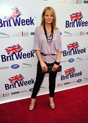 Jeri Ryan hit the red carpet for the launch of BritWeek 2012 wearing a pair of nude peep toe pumps with black lace overlay.