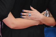 Lea Seydoux's metallic blue nail polish was a perfect match to her jewels.