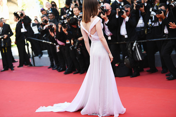 More Pics of Lily Collins Off-the-Shoulder Dress (2 of 70) - Dresses & Skirts Lookbook - StyleBistro [red carpet,gown,dress,carpet,flooring,premiere,event,ceremony,fashion,formal wear,red carpet arrivals,lily collins,okja,screening,cannes,france,cannes film festival,palais des festivals]