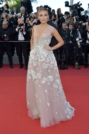 Tallia Storm looked divine wearing this deep-V gown from The Wedding Club, in a dusty-pink hue with white floral embroidery, at the Cannes Film Festival screening of 'Okja.'