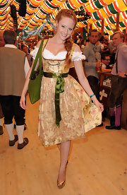 Barbara Meier celebrated Oktoberfest in a traditional dirndl costume dress.