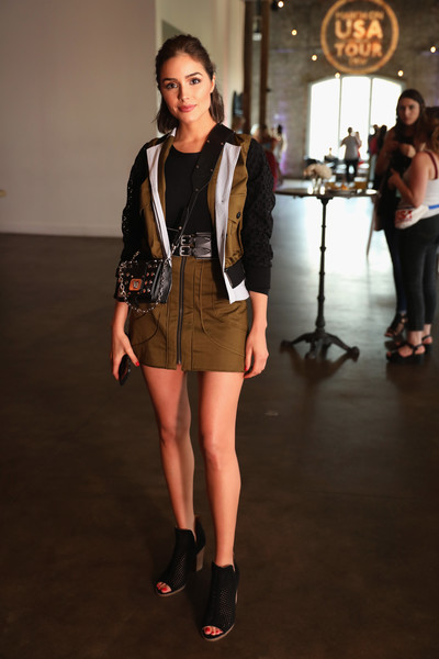 Olivia Culpo Bomber Jacket [fashion model,clothing,fashion,fashion design,fashion show,street fashion,footwear,outerwear,jacket,shorts,olivia culpo,nashville,tennessee,dsw,elle happy hour,acme feed seed,marchon usa tour,event,event]