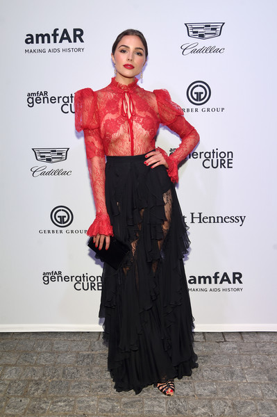 Olivia Culpo Sheer Top [clothing,red,dress,fashion,fashion model,flooring,shoulder,fashion design,event,formal wear,mr.,olivia culpo,generationcure solstice,purple,new york city,amfar]