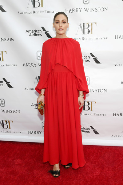 Olivia Palermo Maxi Dress [red carpet,clothing,carpet,shoulder,red,dress,hairstyle,fashion,joint,formal wear,american ballet theatre 2019 spring gala,new york city,metropolitan opera house,olivia palermo]