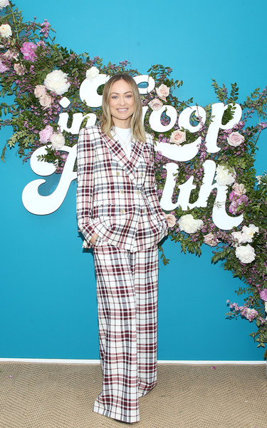 Olivia Wilde Pantsuit [blue,clothing,fashion,spring,pantsuit,pattern,design,textile,tree,plant,olivia wilde,los angeles,rolling greens nursery,california,health summit]