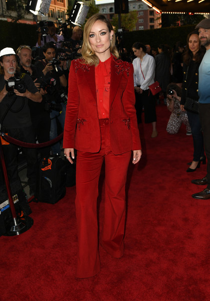 Olivia Wilde Pantsuit [booksmart,la special screening of annapurna pictures,red carpet,clothing,suit,carpet,flooring,premiere,event,formal wear,fashion,pantsuit,red carpet,olivia wilde,screening,la,california,ace hotel,annapurna pictures]