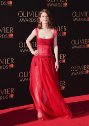 Rose Leslie was red-hot in a sheer gown by Christian Dior at the 2017 Olivier Awards.