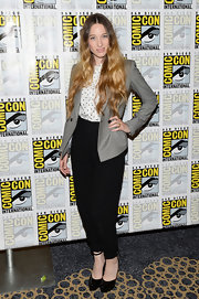 Sophie Lowe's gray blazer looked retro-chic when paired with her dotted button down.