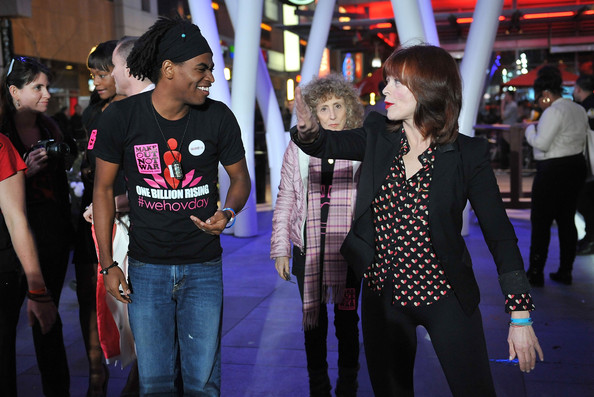 Frances Fisher chose a heart-printed blouse to add a fun, feminine vibe to her Valentine's look at the One Billion Rising event.