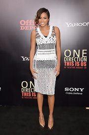 Alicia kept it classy with a sheer white dress that she paired over a black mini dress.