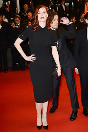 Audrey Fleurot chose a fitted black shirt dress for her look at the premiere of 'Only God Forgives.'