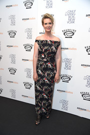 Cynthia Nixon cut a regal figure in an off-the-shoulder floral gown by Zero + Maria Cornejo at the premiere of 'The Only Living Boy in New York.'