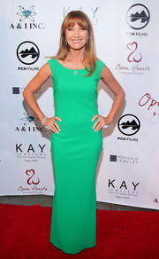 Jane Seymour opted for a simple green column dress when she attended the Open Hearts Foundation Gala.