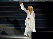 Lady Gaga looked angelic in a long-sleeve white empire gown while performing at the Baku 2015 European Games opening ceremony.