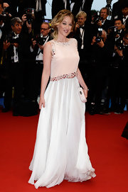 A long flowing white skirt gave Ludivine Sagnier a soft ethereal look on the red carpet.