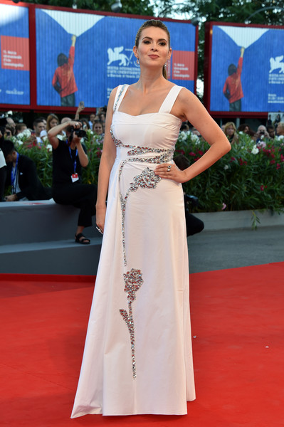Carly Steel went for vintage glamour with this crystal-embellished white gown at the Venice Film Festival opening ceremony.