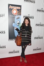 Sarah Hyland attended toted a Max Mara Olimpia handbag to the premiere of 'Avenue Q.'