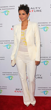 Halle wore a sheer gauzy white tank under her blazer for the pening night of 'Beauty Culture.'