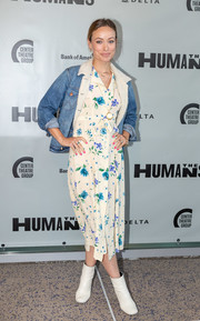 Olivia Wilde layered a Wrangler sherpa-lined denim jacket over a floral dress for the opening night of 'The Humans.'