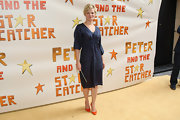 Martha Plimpton kept things simple at the 'Peter and the Starcatcher' opening night wearing this slate blue silk dress.