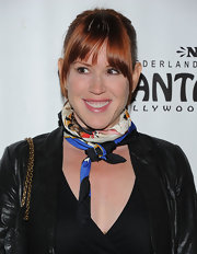 A silk scarf added some color to Molly Ringwald's all-black ensemble.