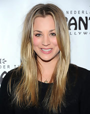 Kaley Cuoco wore her hair long and straight for a casual look at the opening night of 'Wicked.'