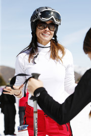 Brooke Burke donned a white turtleneck and red pants for Operation Smile's Celebrity Ski & Smile Challenge.