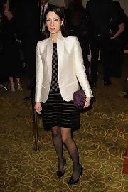A crisp white silk blazer brightened Mary's dark evening ensemble at the Orange British Academy Film Awards in London.