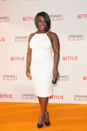 Uzo Aduba wore a sleek and sophisticated white halter dress by Christian Siriano to the 'Orange is the New Black' Europe premiere.