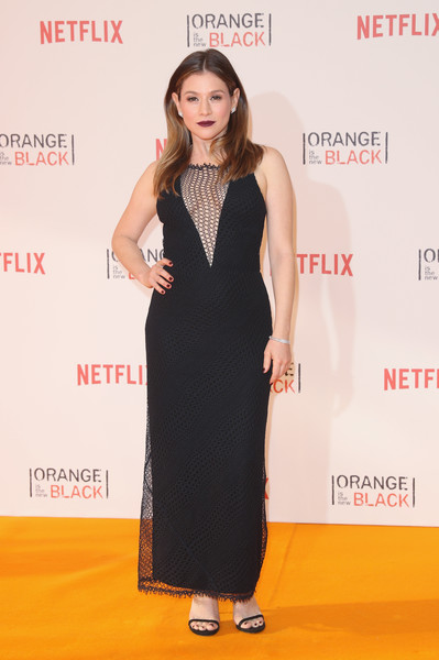 Yael Stone was sexy-edgy in a black mesh dress with a cleavage-baring panel at the 'Orange is the New Black' Europe premiere.