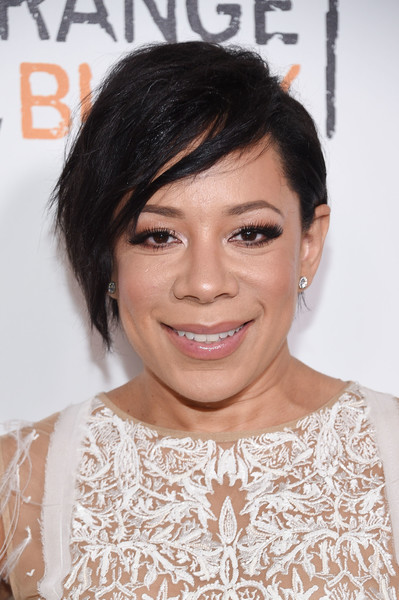 Selenis Leyva was rocker-glam with her messy cut at the New York premiere of 'Orange is the New Black.'