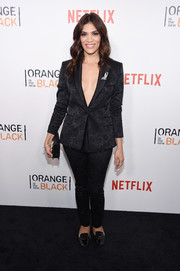 Laura Gomez suited up in brocade for the New York premiere of 'Orange is the New Black.