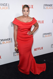 Dascha Polanco went ultra glam in a red off-the-shoulder fishtail gown at the New York premiere of 'Orange is the New Black.'