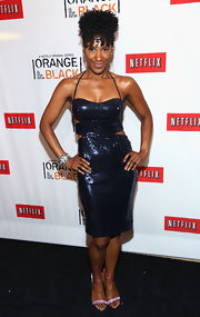 Vicky Jeudy sparkled in a midnight blue sequined dress that featured cutouts at the sides.