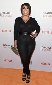 Selenis Leyva showed off her curves in a black jumpsuit cinched with a wide leather belt during the Orangecon fan event.