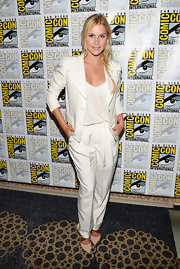 Claire Holt nailed a monochromatic white ensemble at Comic-Con International 2013.