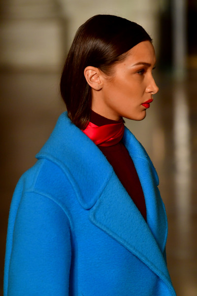 More Pics of Bella Hadid Wool Coat (1 of 14) - Outerwear Lookbook - StyleBistro [oscar de la renta show,the shows,hair,cobalt blue,blue,electric blue,hairstyle,fashion,neck,turquoise,street fashion,shoulder,bella hadid,oscar de la renta - runway,runway,the new york public library,new york city,new york fashion week,bella hadid,new york fashion week,fashion,victorias secret fashion show,fashion week,celebrity,beauty,runway,supermodel,fashion show]