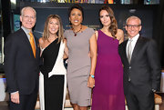 Robin Roberts went for a simple yet sophisticated look with a gray sheath dress.