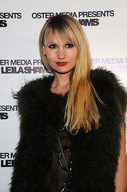 Camilla Romestrand wore her long tresses with wispy brow-length bangs at the Leila Shams after party.