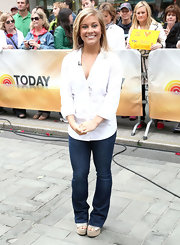 Shawn Johnson kept it classic with blue jeans and a white button-down when she guested on the 'Today' show.